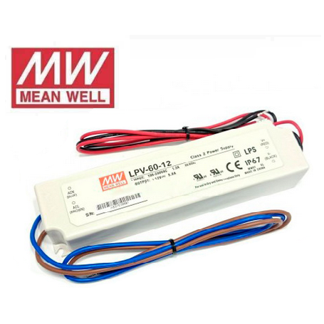 Fuente de alimentación para tiras LED Mean Well 60W 12VDC IP67